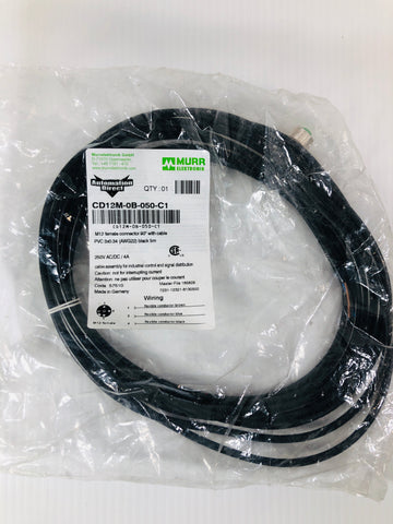 Automation Direct Murr Elektronik M12 Cable Model CD12M-0B-050-C1