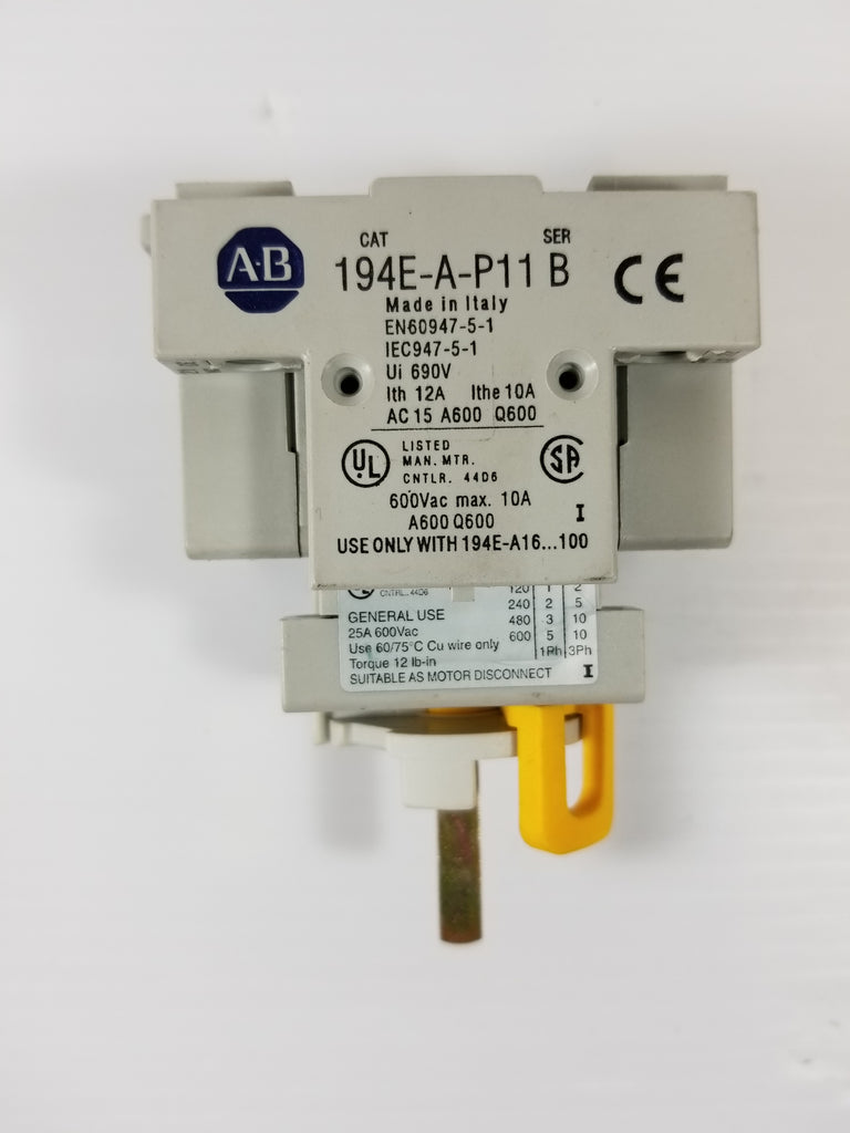 Allen-Bradley 194E-A25-1753 Disconnect Switch w/Aux Contact 194E-A-P11 Series B