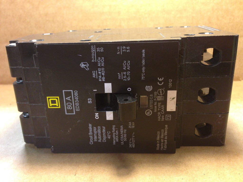 Square D Circuit Breaker EDB34080  80 A - Circuit Breakers - Metal Logics, Inc. - 1