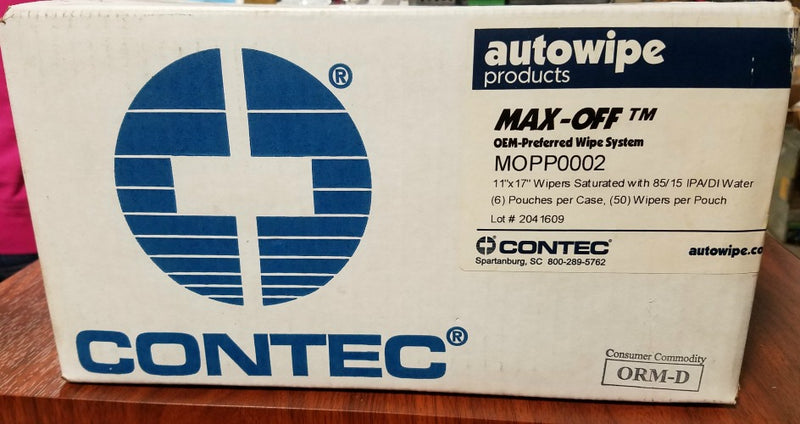 "Contec Max-off Case Of 6 Wipers 11"" x 17"" MOPP0002"