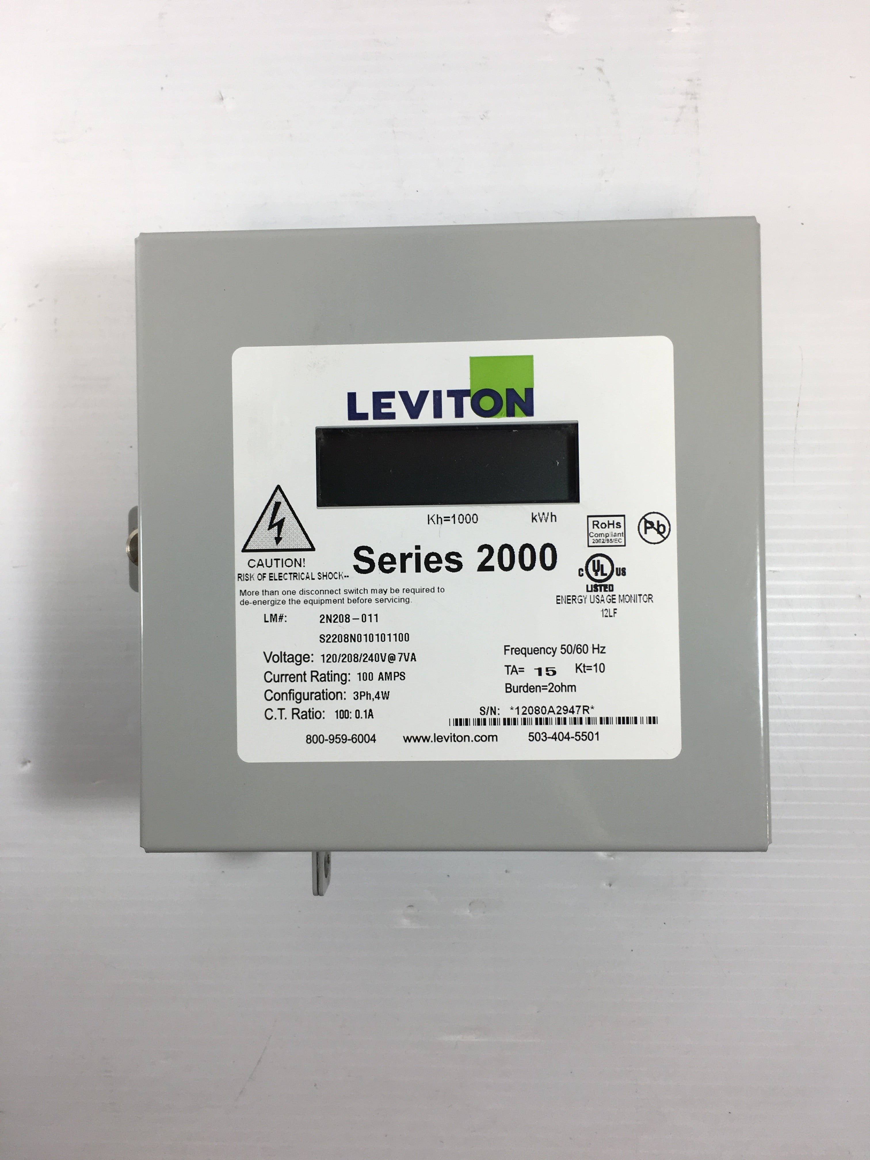 Leviton 2N208-011 Sub-Meter Series 2000 Three Element Meter | Metal ...