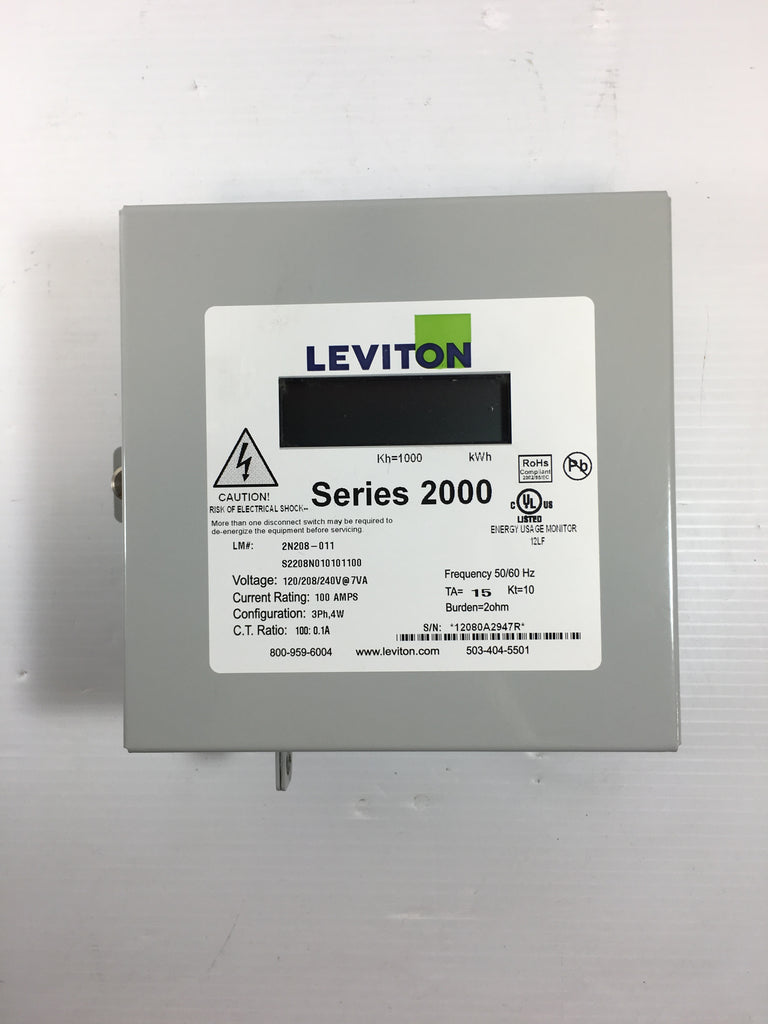 Leviton 2N208-011 Sub-Meter Series 2000 Three Element Meter