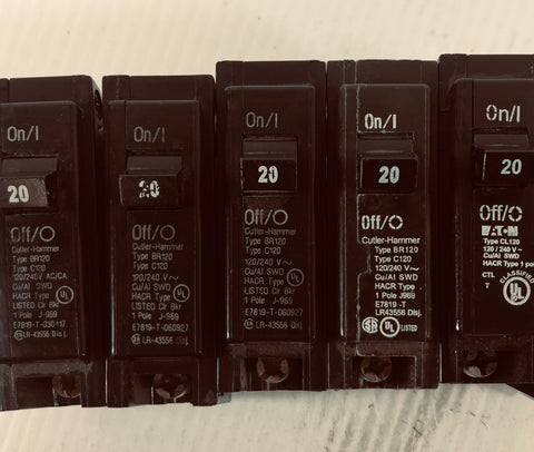 Cutler-Hammer One Pole 20 Amp Circuit Breaker (Lot of 7)
