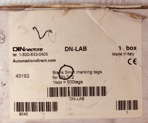 Dinnectors DN-LAB Blank 5mm Marking Tags 43192 (Lot of 260)