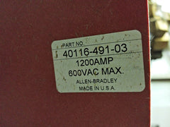 Allen-Bradley 40116-491-03 Drive Disconnect Switch 600 VAC 1200 Amp with Fuses