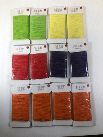 Horizon Jute Trim 5 Color Red Yellow Orange Purple Green 20 Yards each