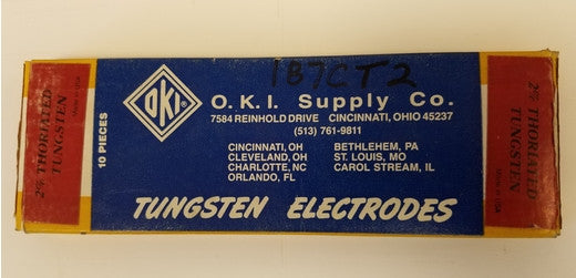 O.K.I. Supply Co. 2% Thoriated Tungsten Electrodes 1/8 Diameter 10 Pieces - Accessories - Metal Logics, Inc. - 2