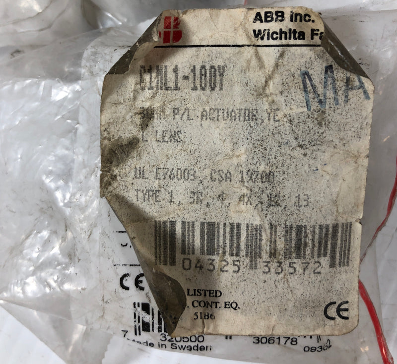 ABB Yellow Push Button Actuator G1ML1-100Y