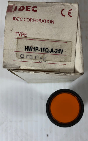 IDEC Pushbutton Switch HW1P-1FQ-A-24V Orange