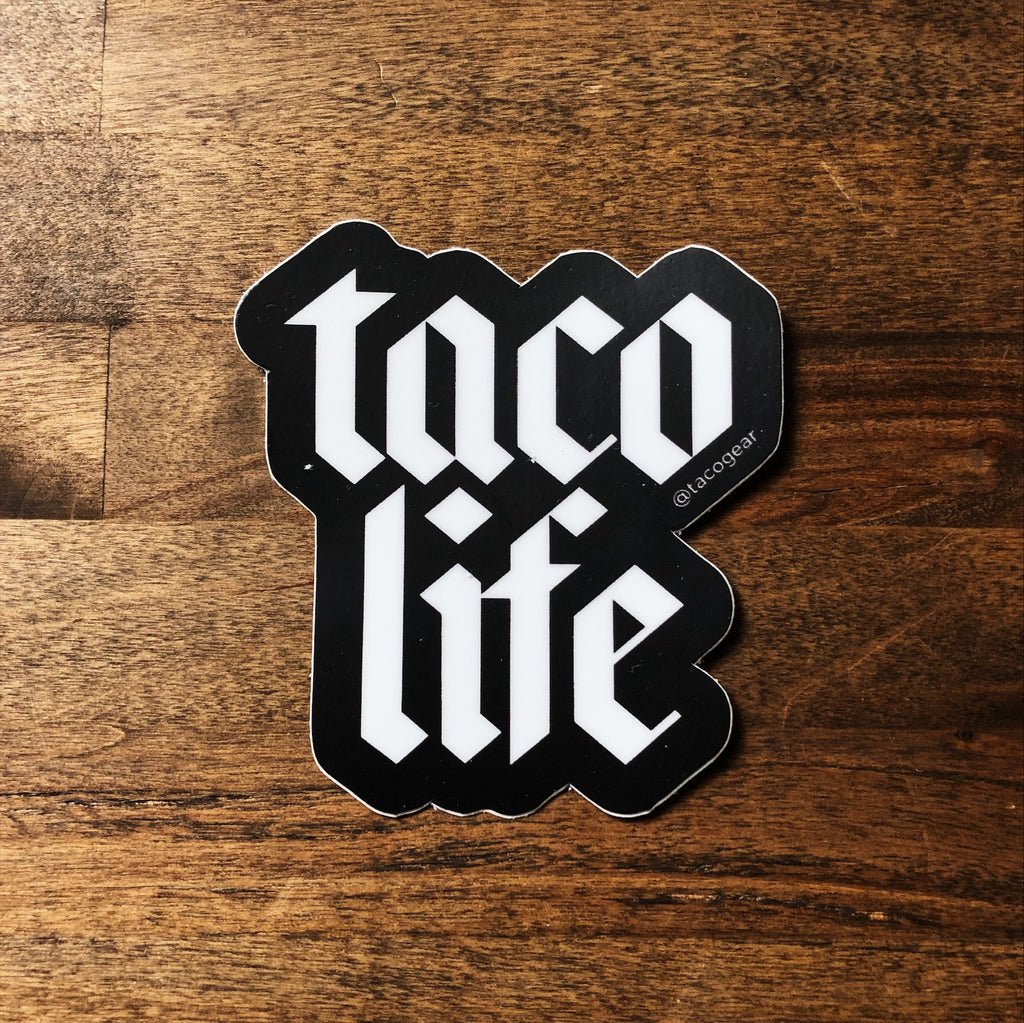 taco life taco gear sticker in black and white
