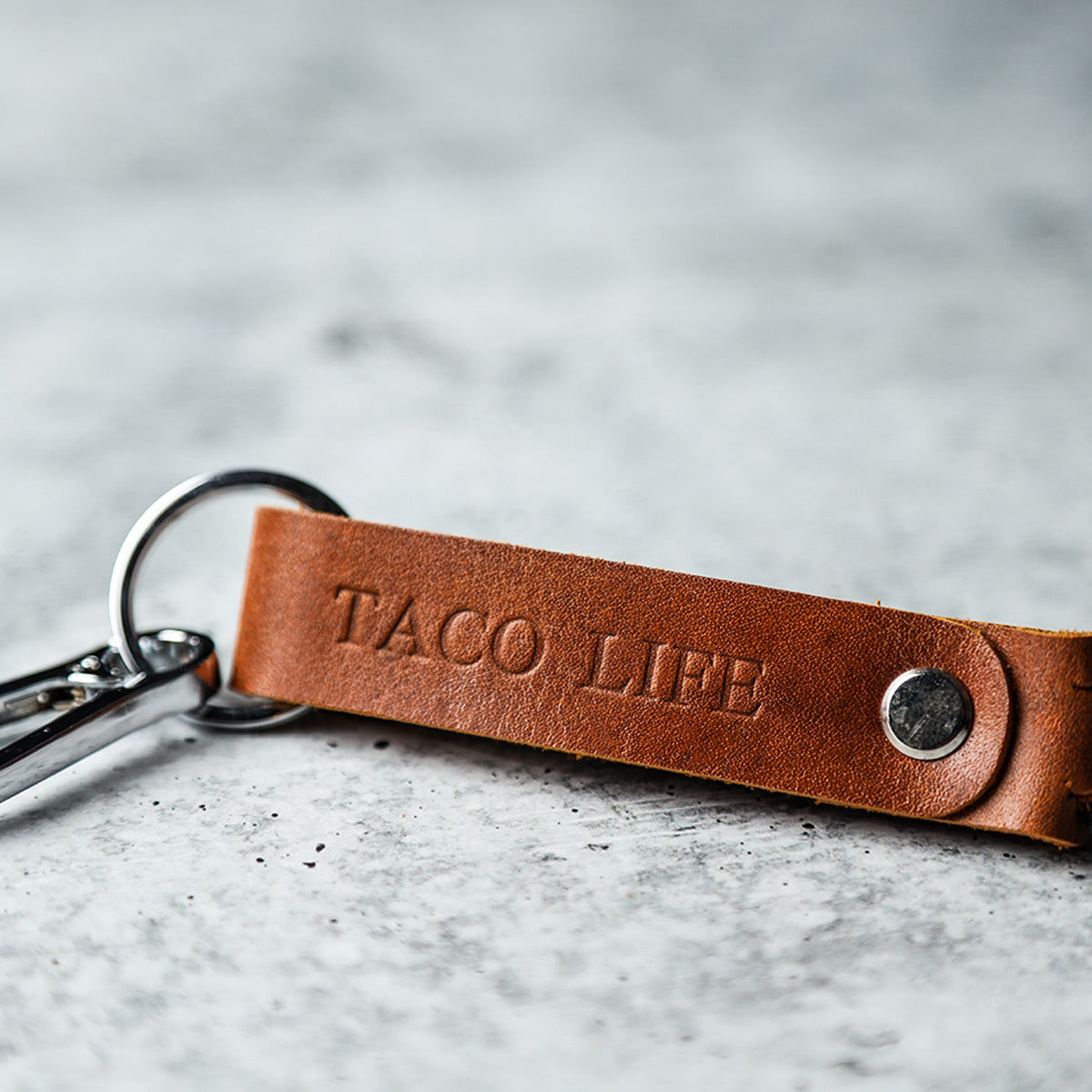 Leather TACO LIFE Key Clip (Cognac)