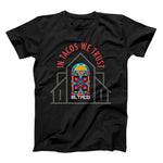 Taco Gear In tacos We Trust Shirt Collaboration with Muralist Chicana Artist Mayra Zamora in Black