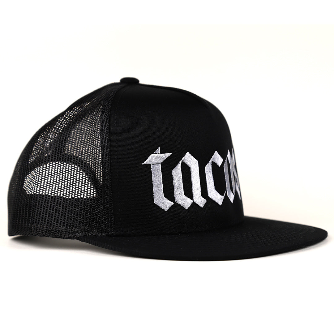 Tacos taco gear black trucker hat with light gray tacos font side view