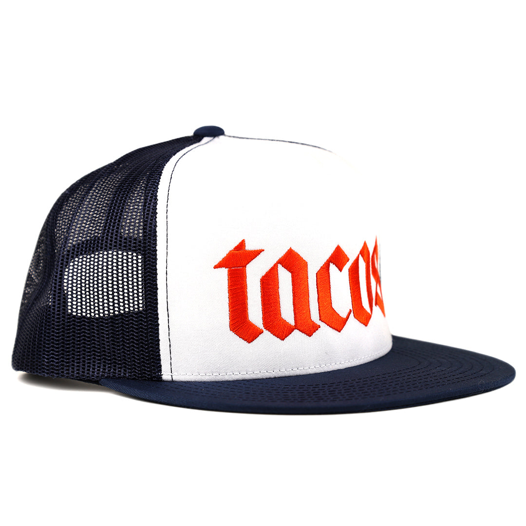 Tacos taco gear trucker hat with orange text on navy and white
