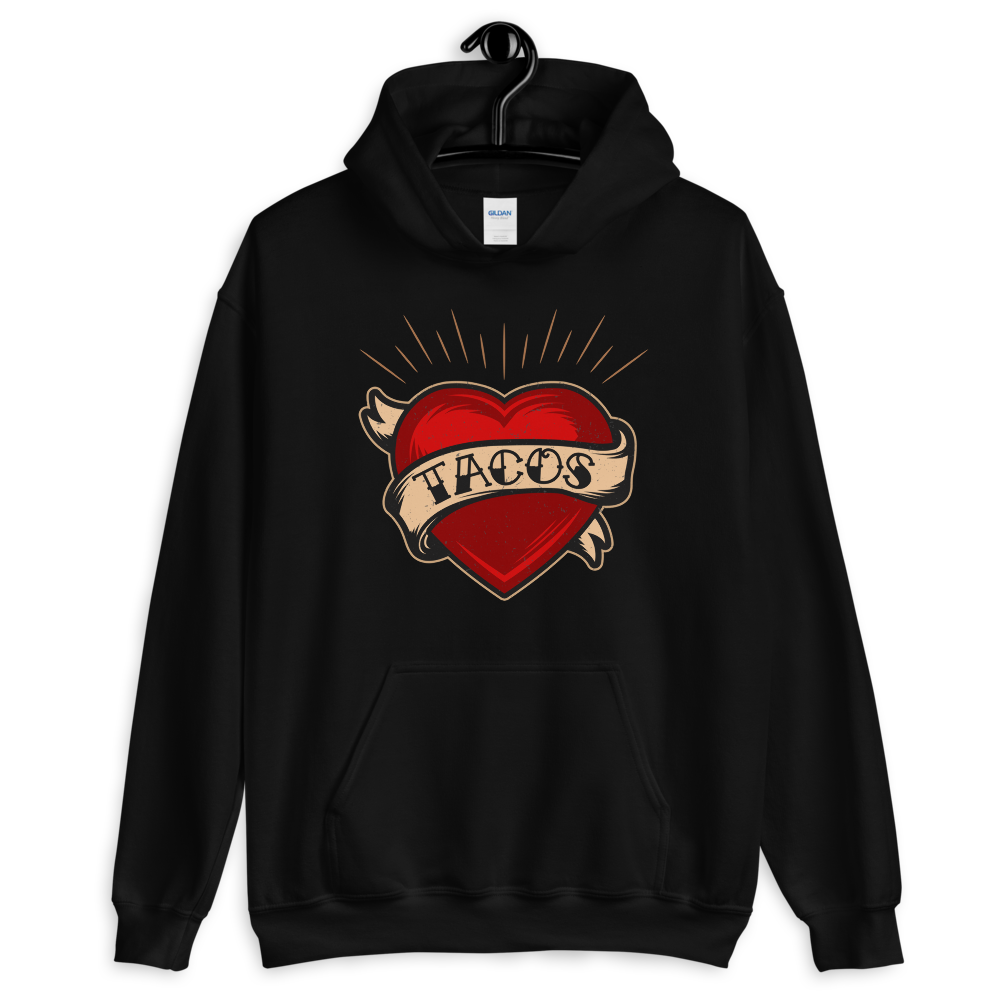 TACOS Heart Tattoo Pullover Hoodie