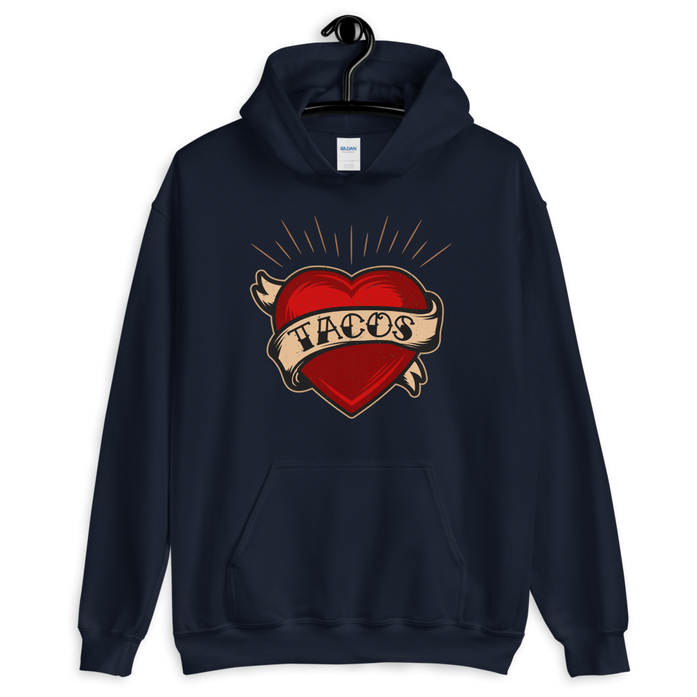 TACOS Heart Tattoo Pullover Hoodie - Taco Gear
