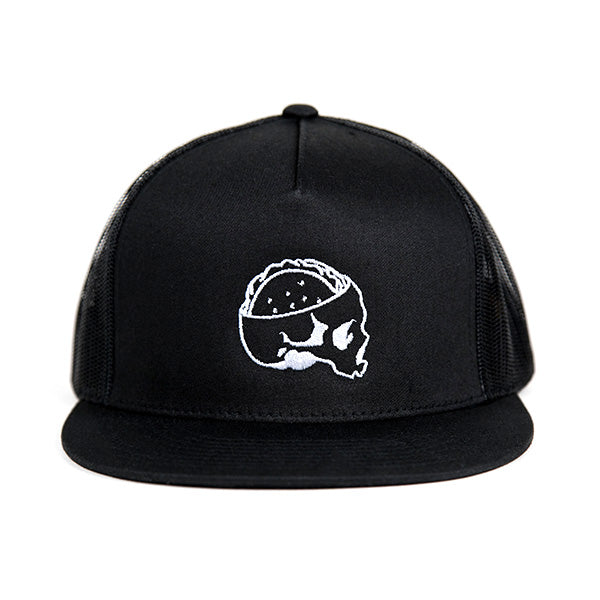 Taco Gear Tacos or Death Skull Taco Trucker Hat Black
