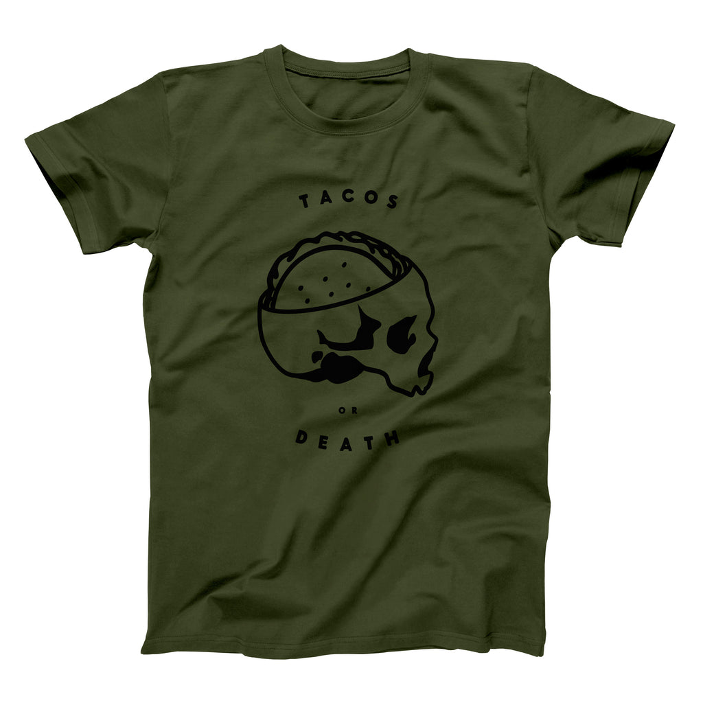 Taco Gear Tacos or Death Skull Taco Olive Shirt
