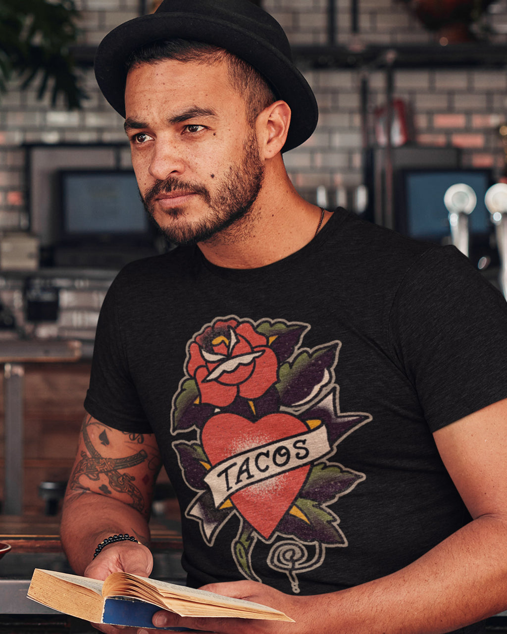 black Traditional Tacos Shirt - Taco Gear on model