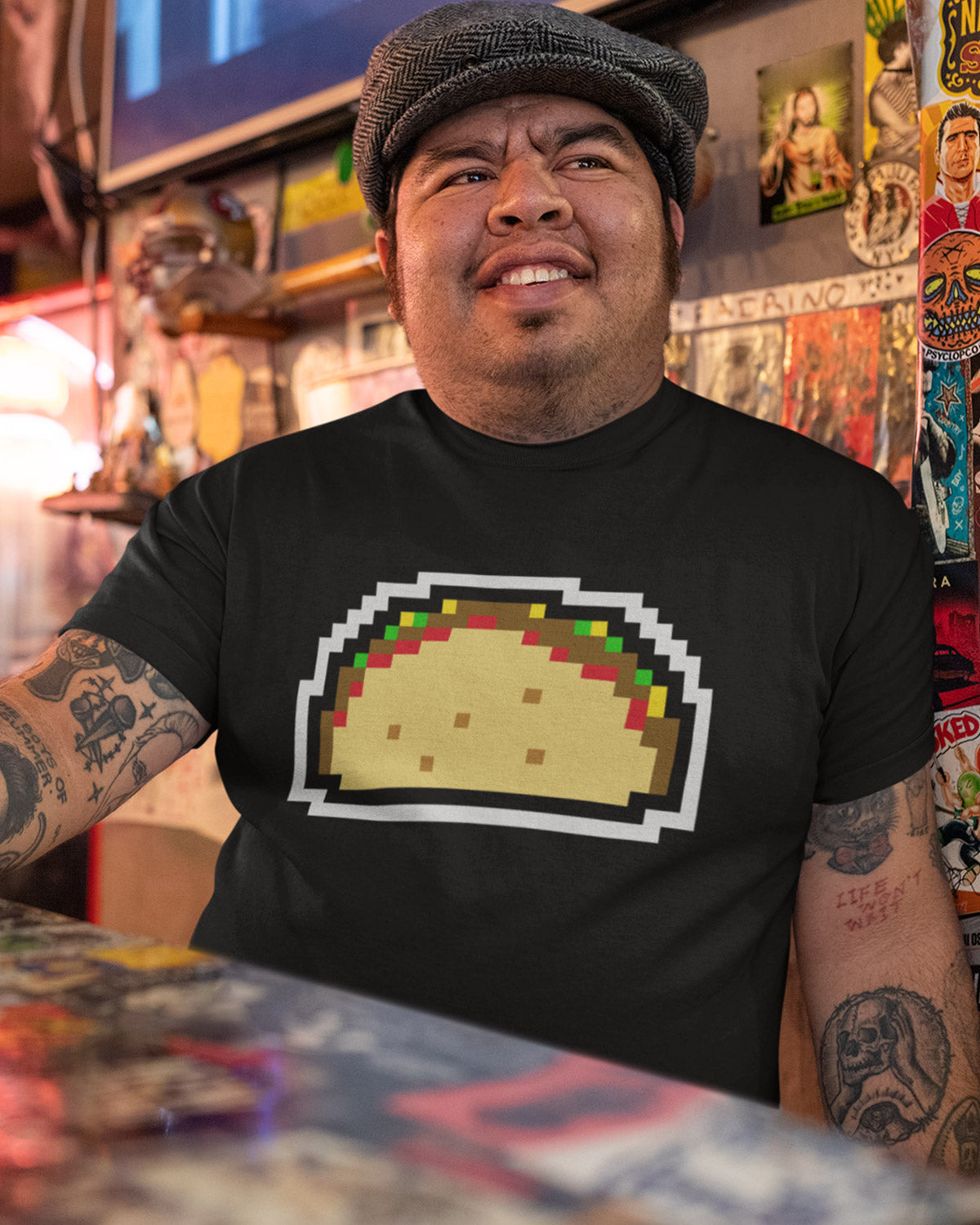 8 bit design black taco shirt from taco gear