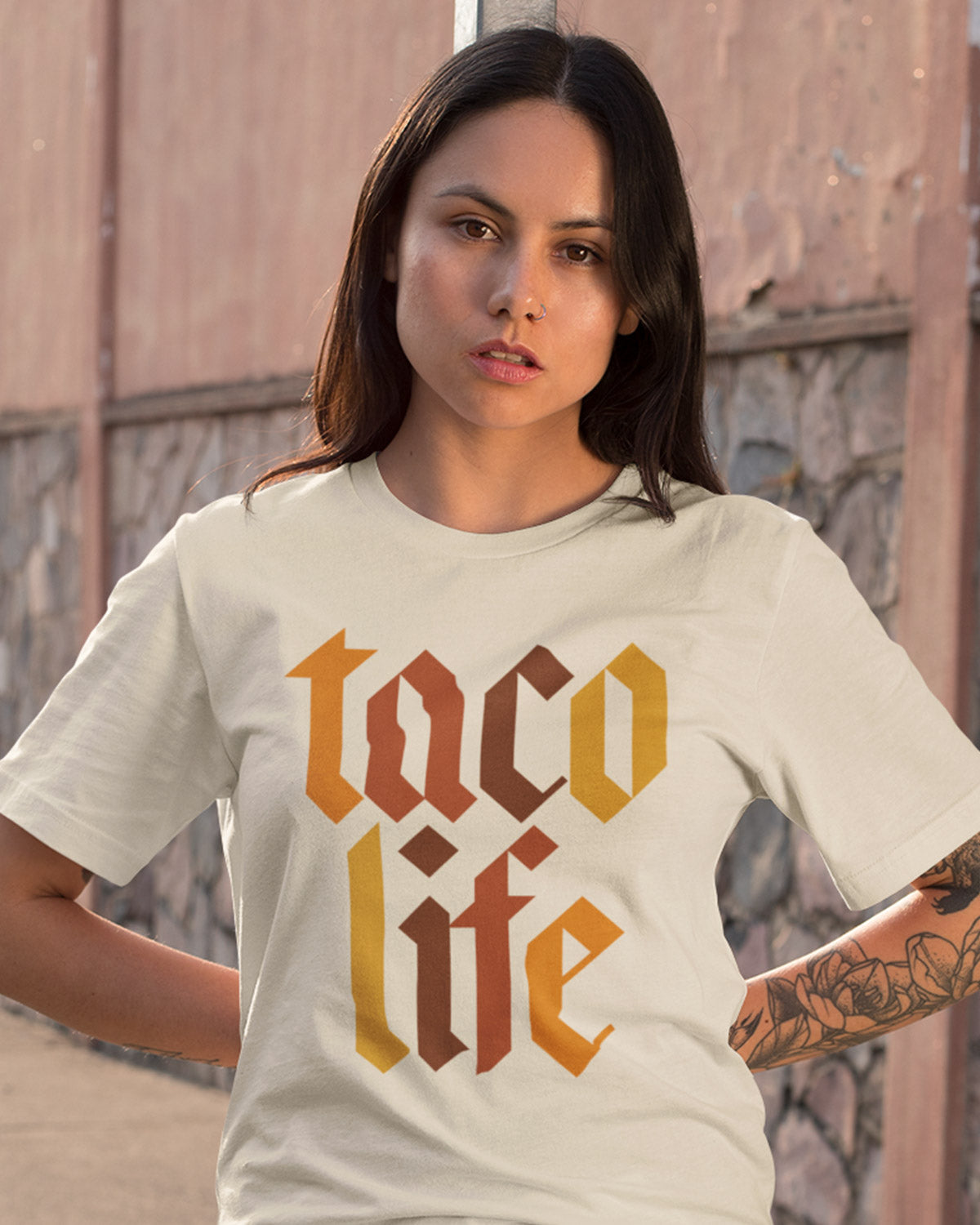 cream TACO LIFE Shirt - Taco Gear on model
