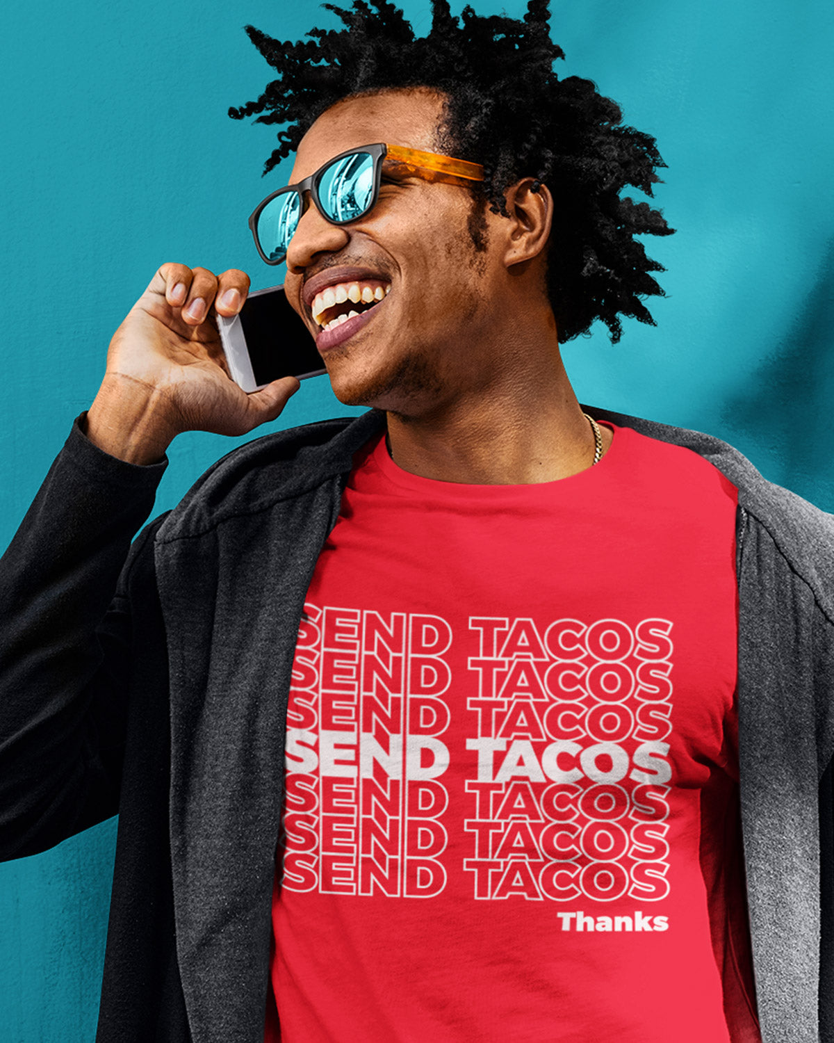 red Send Tacos Shirt - Taco Gear on model