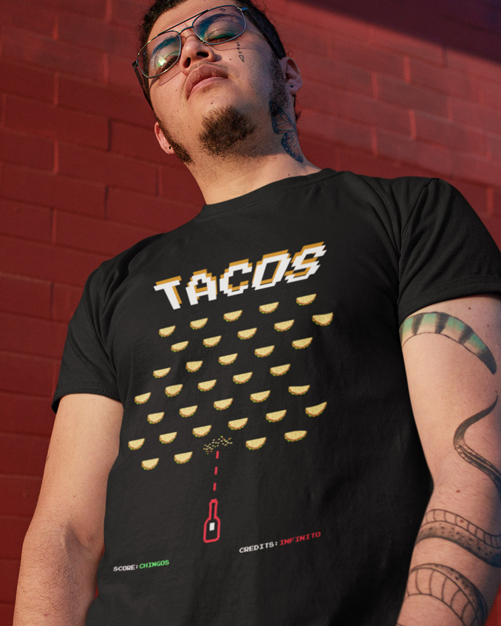 black TACO Invaders Shirt on model - Taco Gear