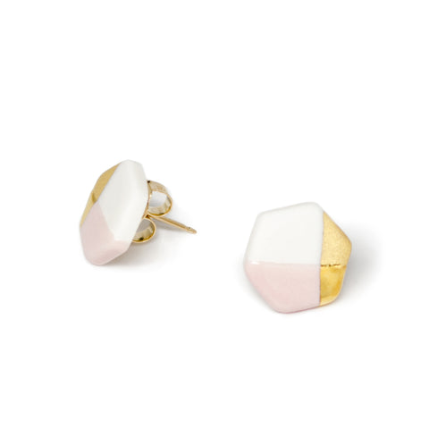 Petite Hexagon Stud Earrings in pink by Ash Jewelry Studio