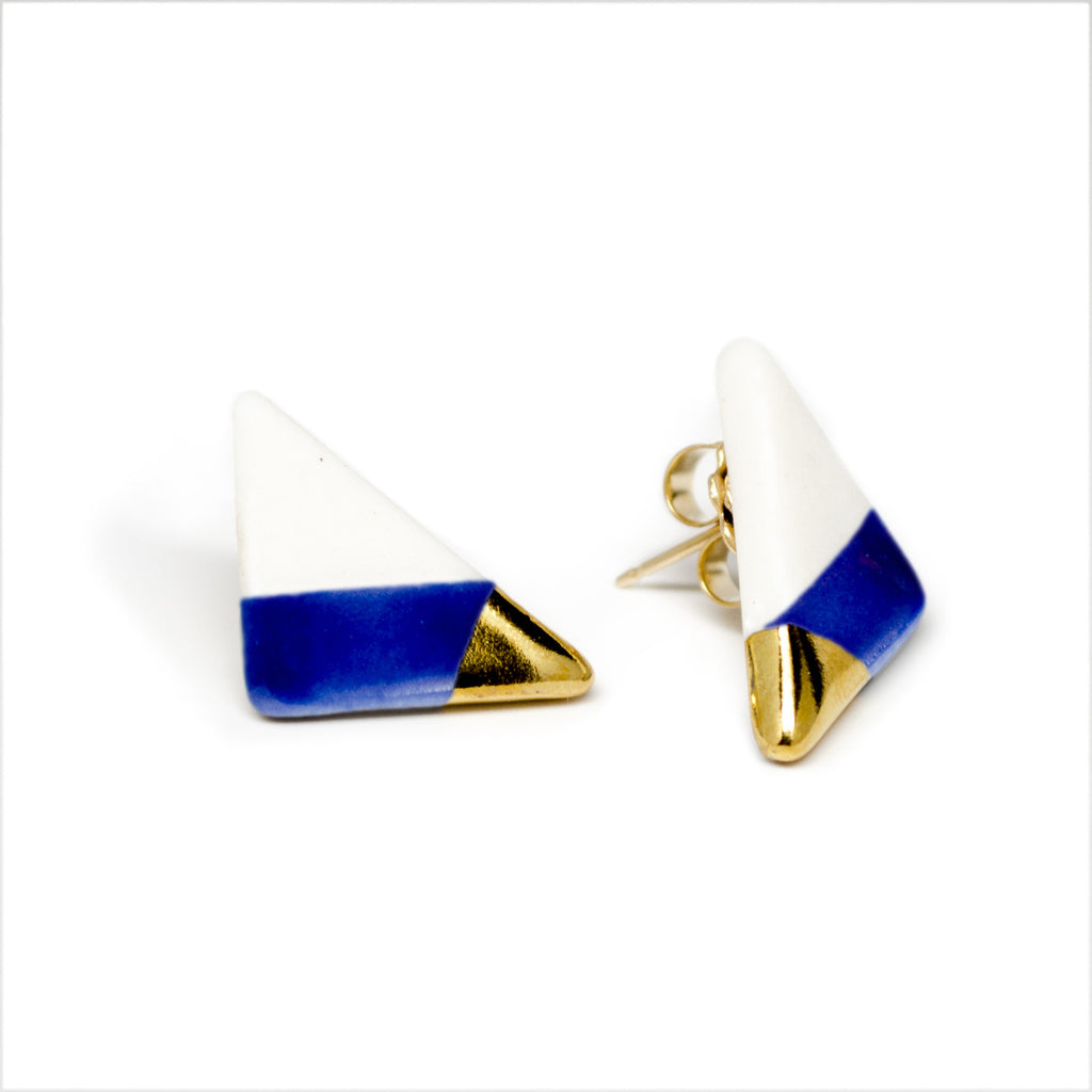 vertical triangle studs in blue - ASH Jewelry Studio - 1