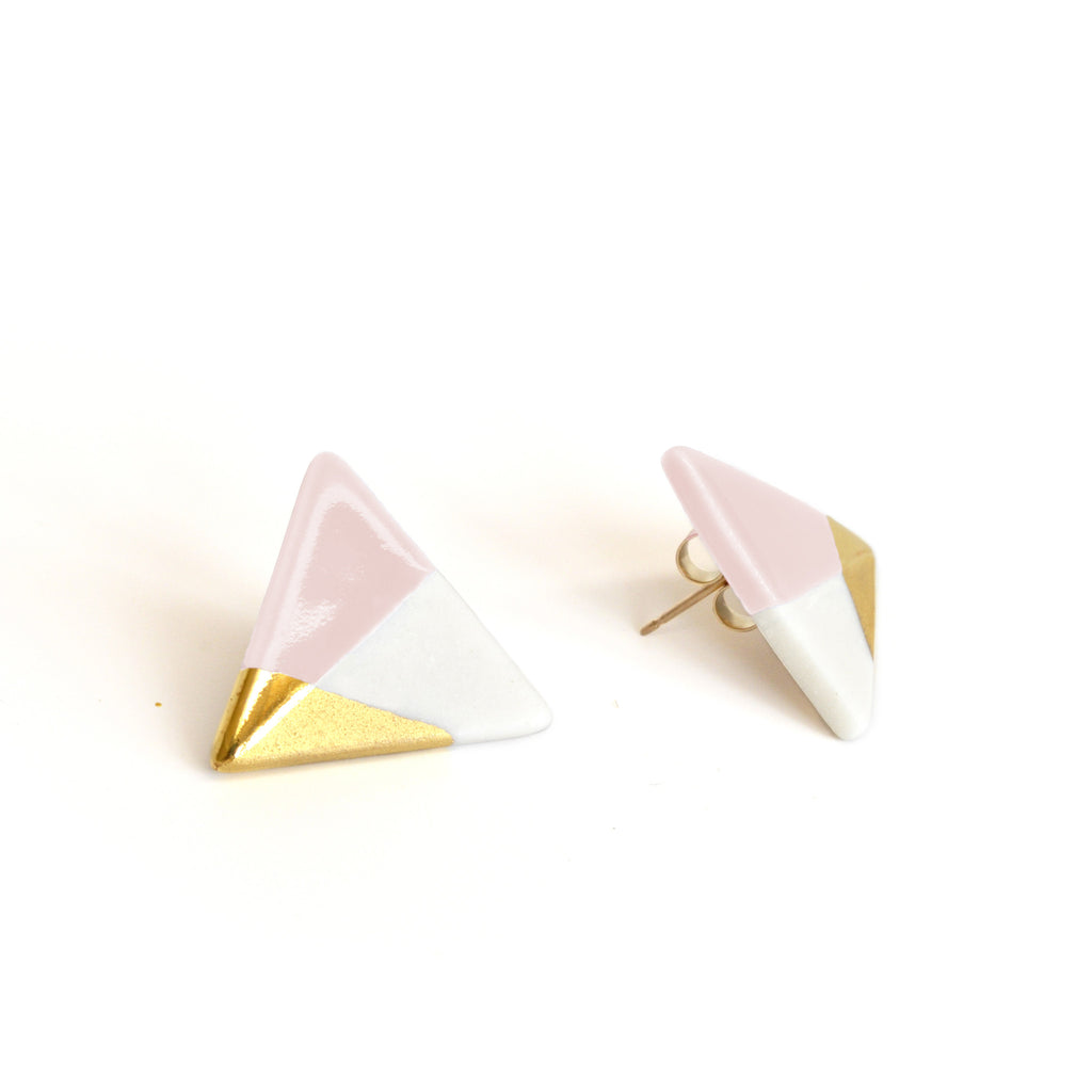 modern triangle studs in pink - ASH Jewelry Studio - 1