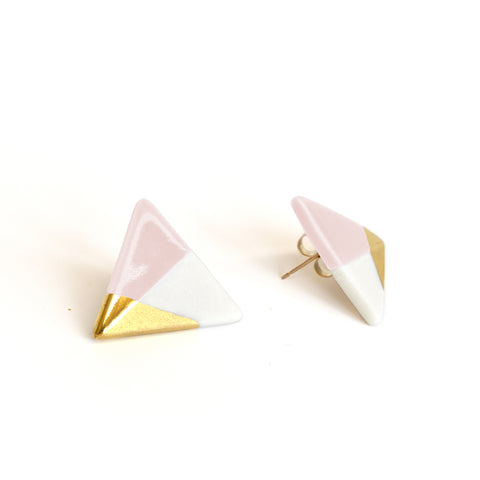modern triangle studs in pink