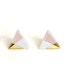 modern triangle studs in pink - ASH Jewelry Studio - 2