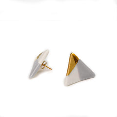 modern triangle studs in gray - ASH Jewelry Studio - 2