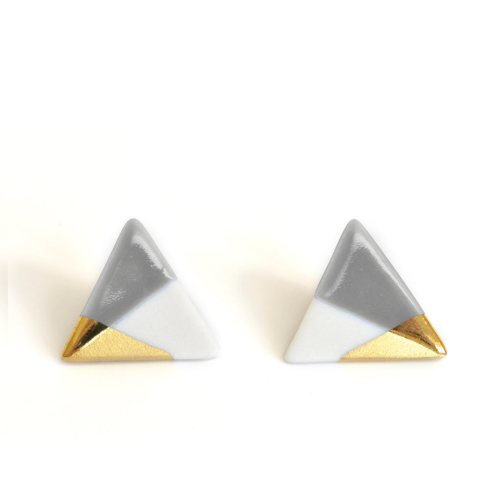 modern triangle studs in gray - ASH Jewelry Studio - 1