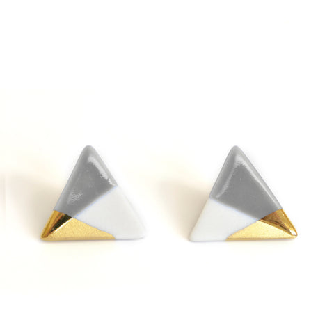modern triangle studs in gray