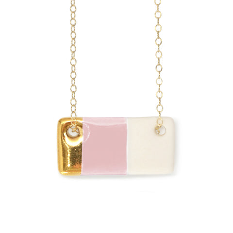 blush pink bar necklace