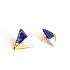 modern triangle studs in blue - ASH Jewelry Studio - 2