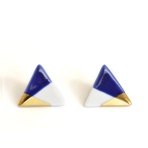 modern triangle studs in blue