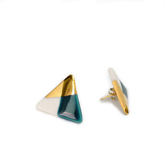 modern triangle studs in teal - ASH Jewelry Studio - 2