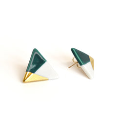 modern triangle studs in teal - ASH Jewelry Studio - 3