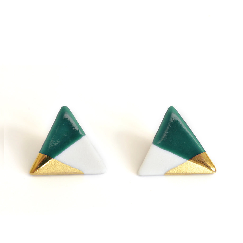 modern triangle studs in teal - ASH Jewelry Studio - 1