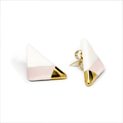 vertical triangle studs in pink - ASH Jewelry Studio - 2