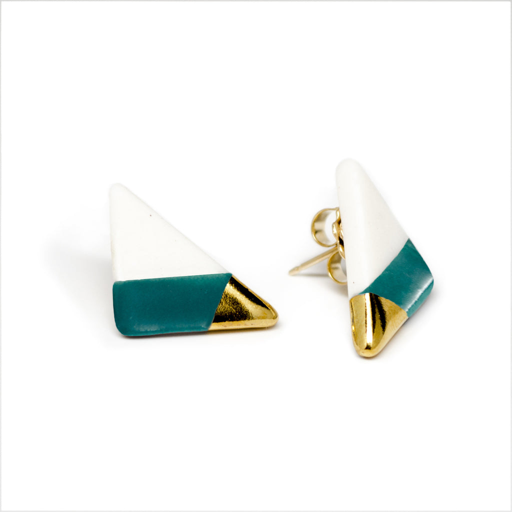 vertical triangle studs in teal - ASH Jewelry Studio - 1