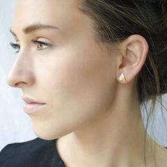 teeny triangle stud earrings