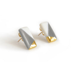 tiny rectangle studs in gray - ASH Jewelry Studio - 3