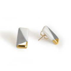 tiny rectangle studs in gray - ASH Jewelry Studio - 1