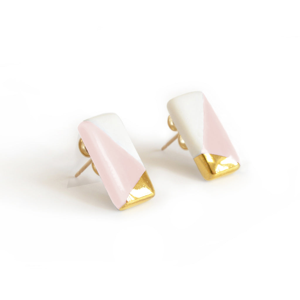 petite rectangle studs in pink - ASH Jewelry Studio - 1