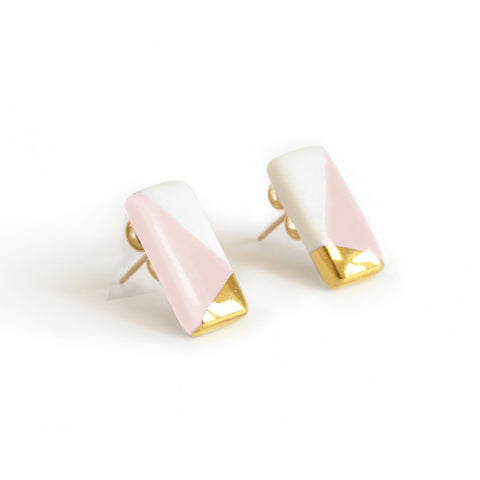 petite rectangle studs in pink