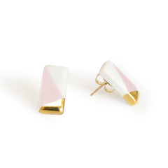 petite rectangle studs in pink - ASH Jewelry Studio - 3