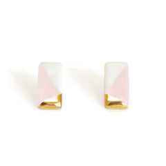 petite rectangle studs in pink - ASH Jewelry Studio - 2